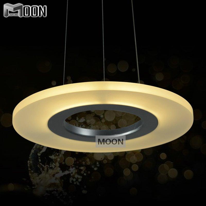 Pendant lamp iluminacion acrylic round ring lighting for Round bathroom light fixtures