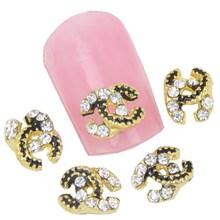 10pc Glitter 3D Nail Art, Brand Logo Rhinestone Charm, Women Nail Tip Accessories Decoration Metal Fingernail Jewelry  MA0152