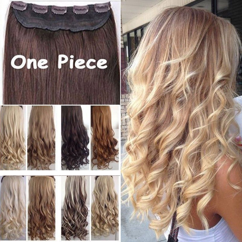 """17"""" 24"""" 27"""" 3/4 Full Head Clips in Hair Extension Black Blonde Hairpiece Fashion Long Synthetic Curly Wave Hair Extentions(China (Mainland))"""