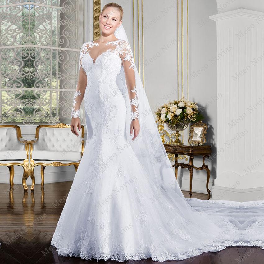 Mermaid Wedding Dress Train : Vestido de noivas sereia long sleeves lace wedding dress