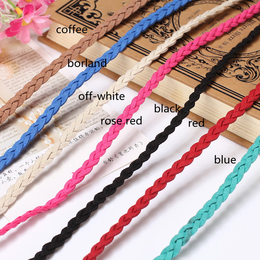 5m/lot Flat Braided Cord Leather Braiding Rope Thread String Diy Making Bracelet Necklace Jewelry Faux Suede Woven Cords Finding(China (Mainland))