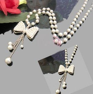 Designer Long Handmade Beaded Necklaces Jewelry,Elegant Bow Tie Pearl Pendant Necklace Girls, Fashion Chain - BeLovesStyle store