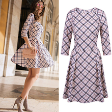 2016 New Fashion Geometric plaid O-neck women printed mini dress 3/4 sleeve elegant slim A-line party dresses with back zippers