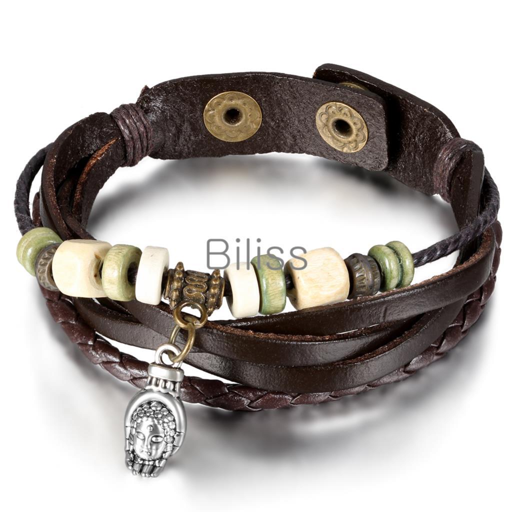 Luxury Wholesale Genuine Leather Wrap Bracelet For Women Men Multilayer Charm Men's Bracelets pulseira couro 7 styles(China (Mainland))