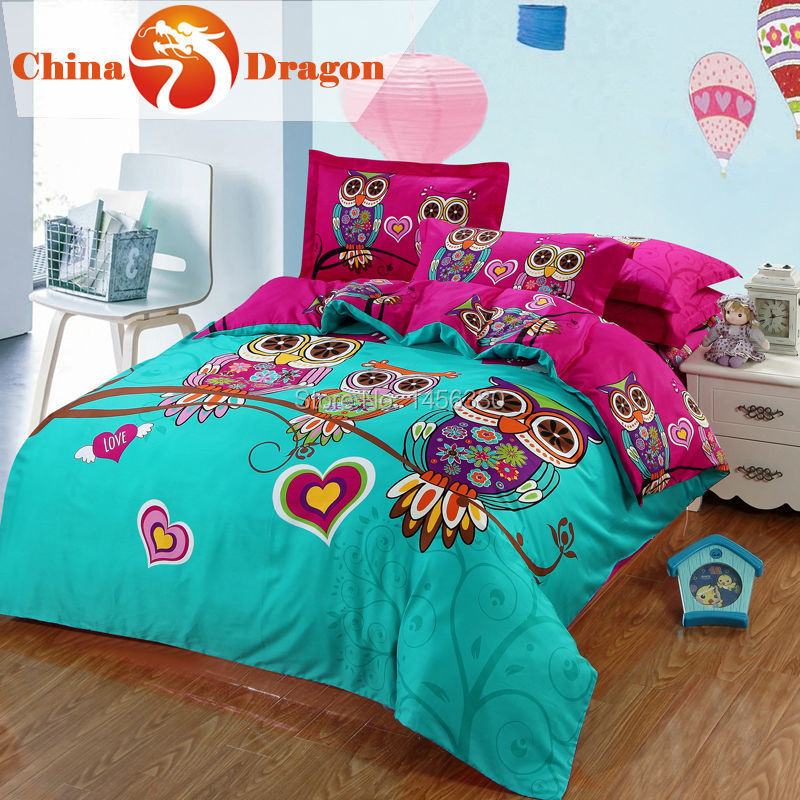 Cartoon kids 3d cute owl pattern bedding full size crib duvet cover king size adult queen bed for Full size bedroom sets for adults