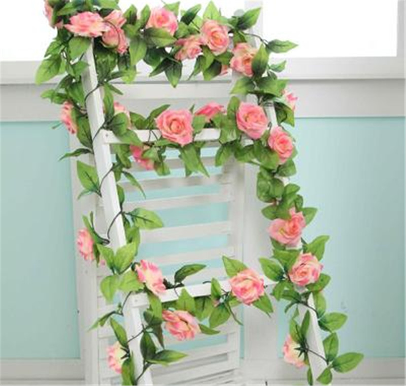 2Set Fake Silk Roses Flower Ivy Vine Hanging Garland Artificial Flowers for Christmas Home Weddig Decoration DIY Accessories(China (Mainland))