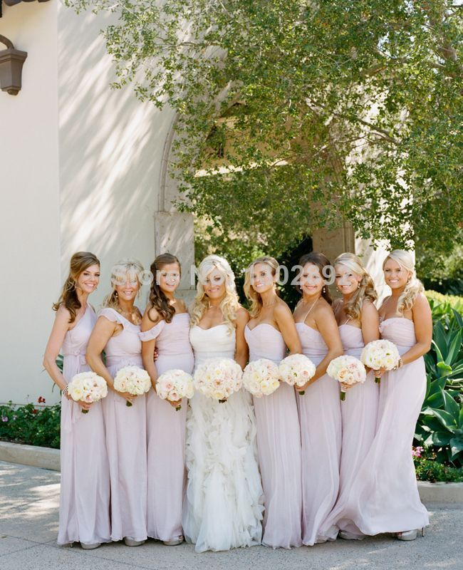 real weddings modern long taupe bridesmaid dresses photo