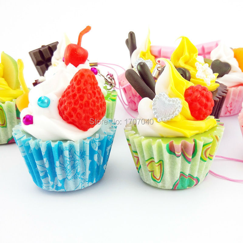 Cute Hard Ice Cream Fruit Cup Cake Cell phone Straps Food Simulation Key Chain Charms(China (Mainland))