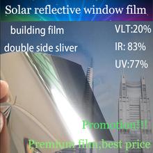 152cmx1000cm/5ftx33ft Solar reflective film Sliver colour PET Residential/commericial building solar control window film