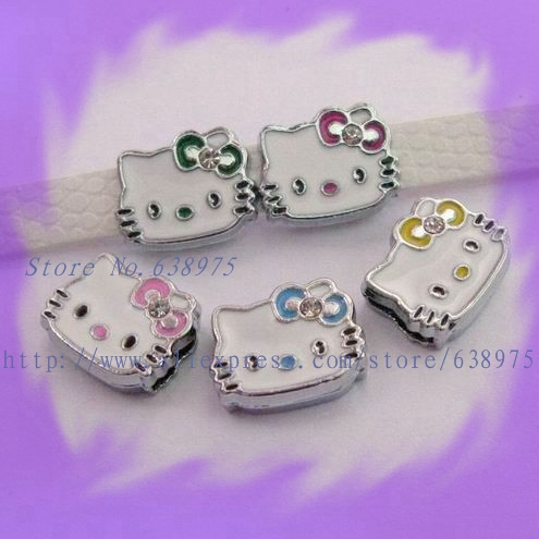 Free Shipping 100pcs Mix Color One Rhinestone Hello Kitty Internai Dia 8mm Slide Charms DIY charms fit 8mm Belt Pet Collar(China (Mainland))