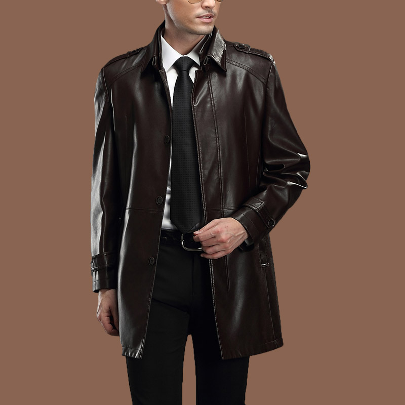Special Promotion!the New 2014 Men's Sheep Leather Trench Coat Man Long Male In Leather Jacket Mens Leather Coats M-xxl(China (Mainland))