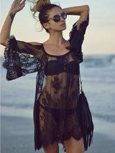 2015 мода купальники сокрытия сексуальная вязания белый черный кружевной парео пляж платье лето купальник бикини прикрыть