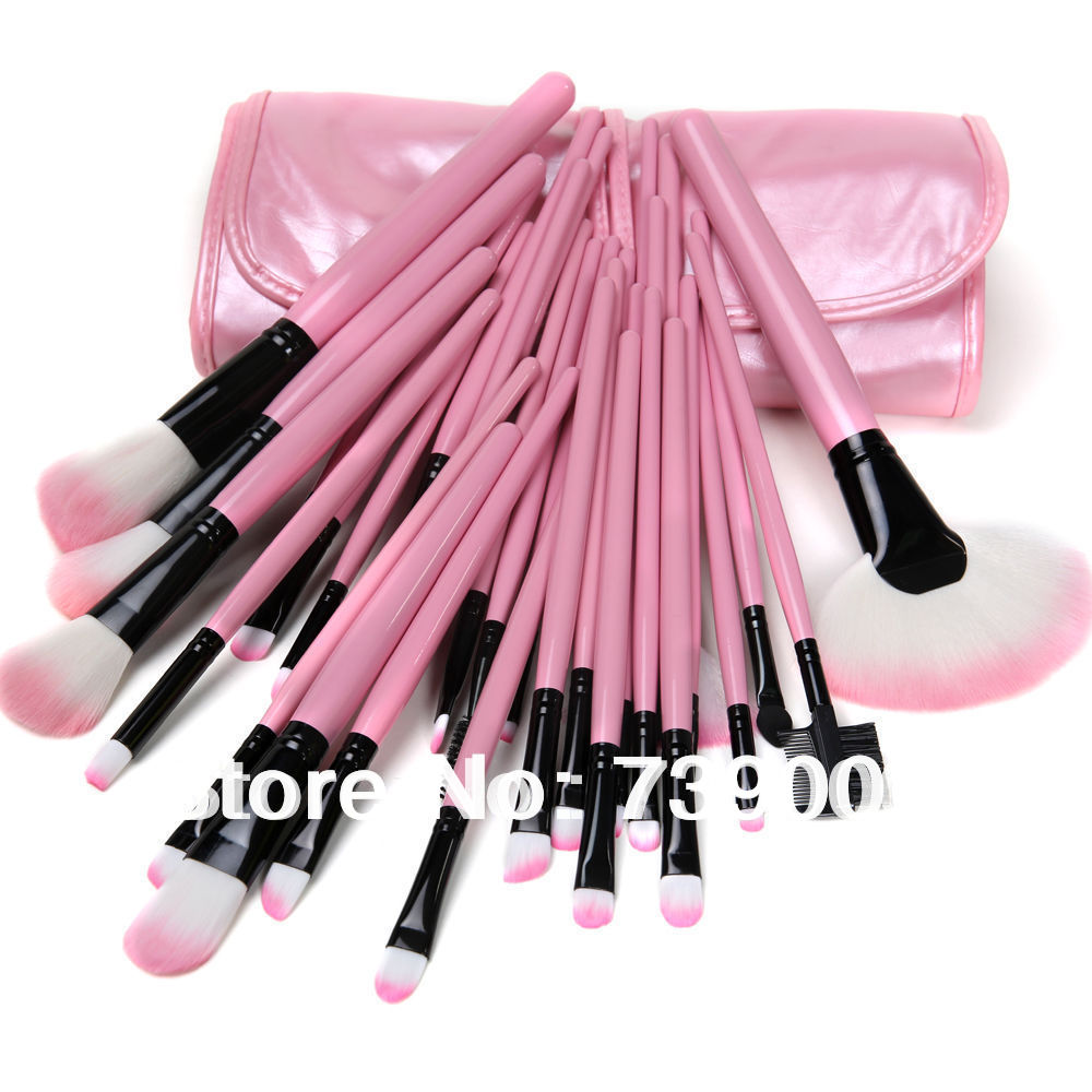 New PINK Pro 32Pcs Pouch Bag Case Superior Soft Cosmetic Makeup Brush Set Kit<br><br>Aliexpress