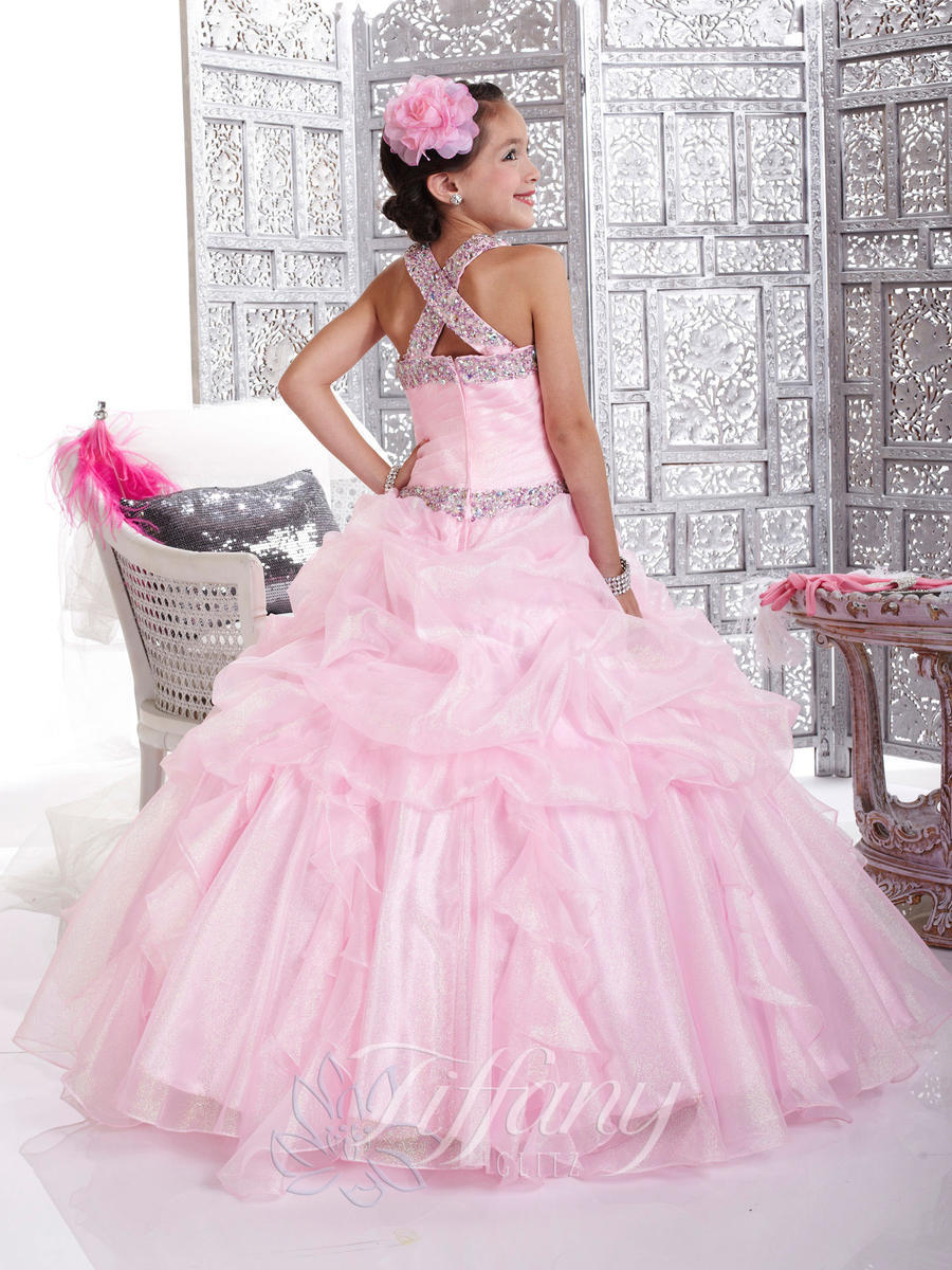 Pink Wedding Dresses Princess : Pink organza ball gown princess wedding flower girl dresses floor