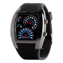 Newly Design Fashion Aviation Dial Flash LED Watch Gift Mens Sports Car Meter Watches 160108