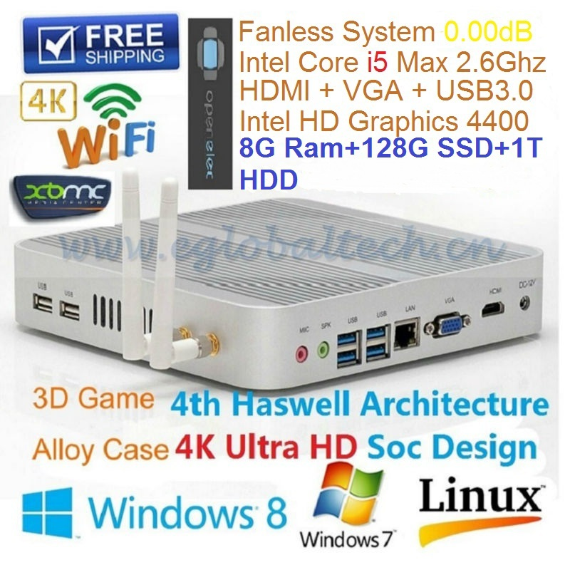 Fanless Mini HTPC Alloy ITX Case Intel Nuc Pc Core i5 4200U 8GB RAM 128GB SSD 1TB HDD Living Room HTPC with USB 3.0 HDMI VGA RJ(China (Mainland))