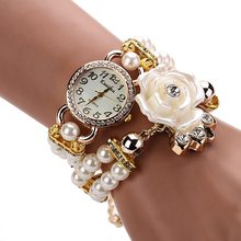 New Arrive Ladies Girls Clock Casual Pearl Bracelet watch Women Fashion Rose Flower Round Quartz Wrist Watches For women