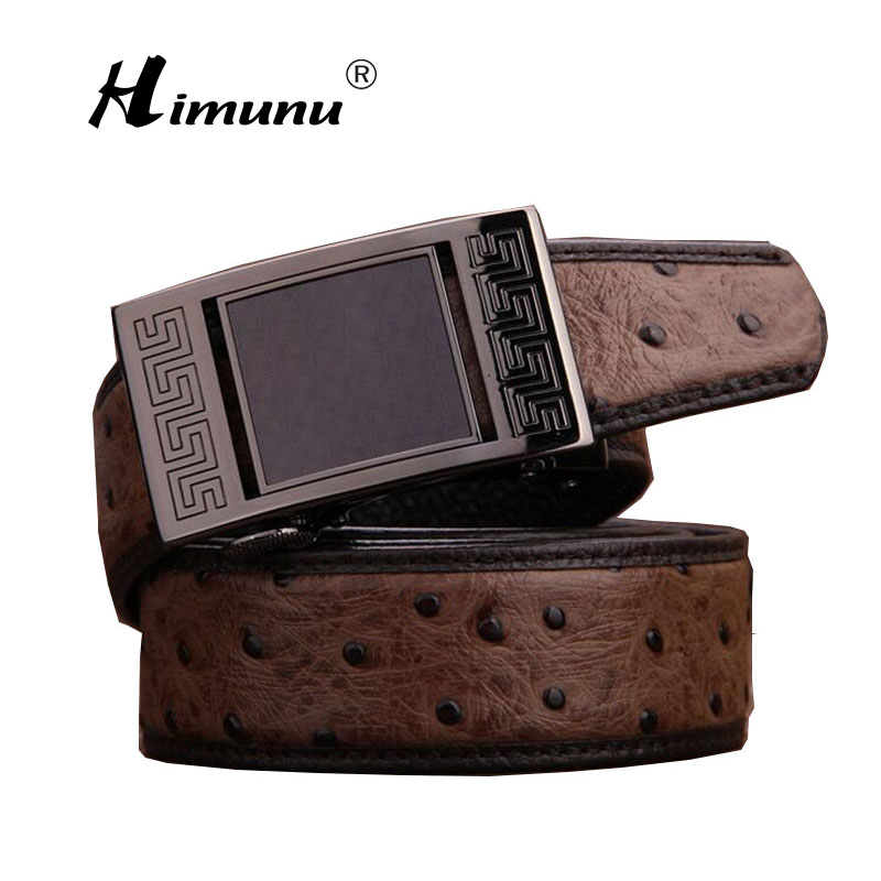 [Himunu] 2017 Fashion Ostrich Grain Genuine Leather Belt Luxury Designer Automatic Buckle Belts for Men Coffee Brown(China (Mainland))