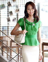 Novel designs Summer Korean Style Women fresh Blouses Short Sleeve Slim Chiffon With Ruffles OL Blouse Tops lady SS(China (Mainland))