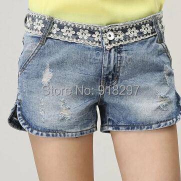 summer spring thin shorts lace cut denim jeans casual women hole capris female slim plus size lyy0506 - Online Store 918297 store
