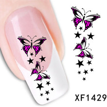 1Pcs Nail Art Water Sticker Nails Beauty Wraps Foil Polish Decals Temporary Tattoos Watermark + Free Shipping (XF1429)