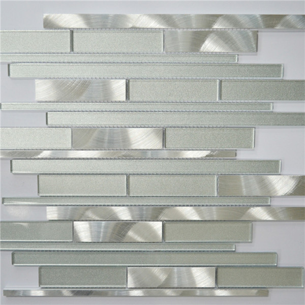 Silver Kitchen Wall Tiles: White And Silver Interlocking Metal Glass Mosaic Tile