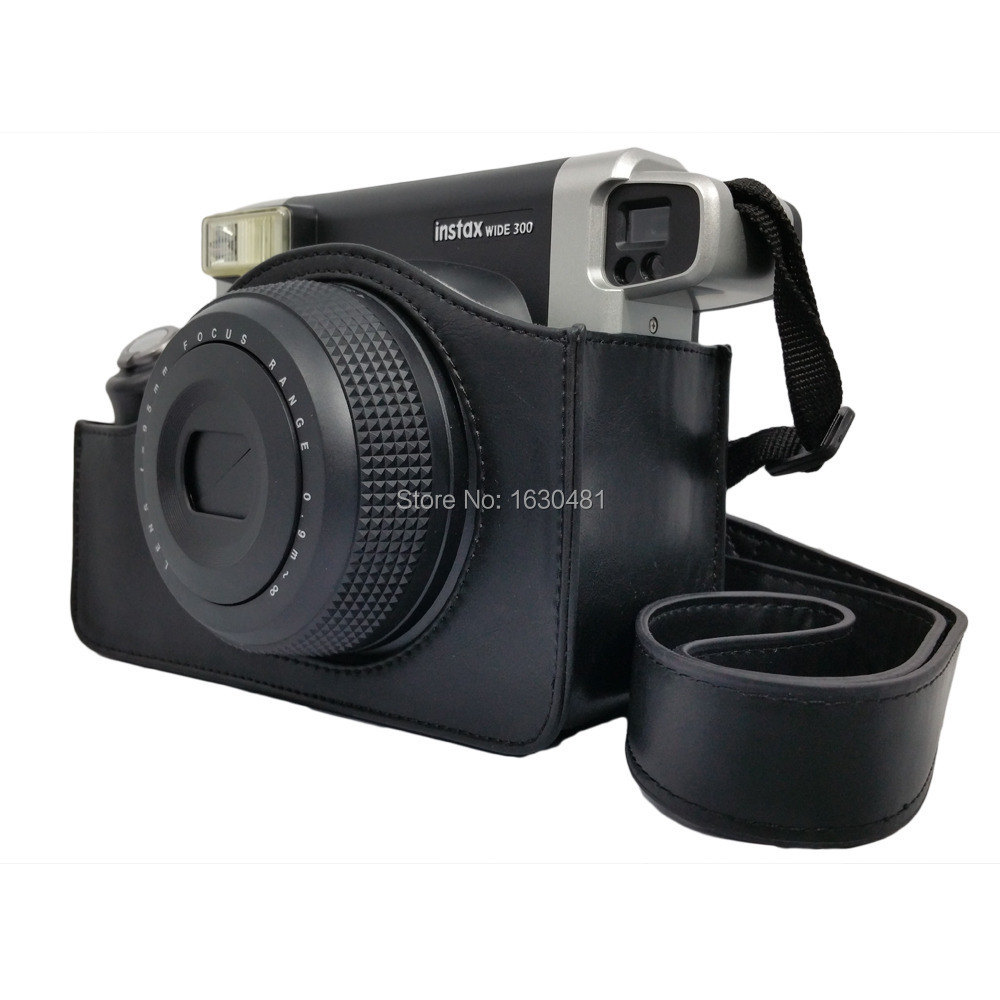 Leather Carry Cover Case Bag For Fuji Fujifilm Instax Wide 300 Camera Black Color(Hong Kong)