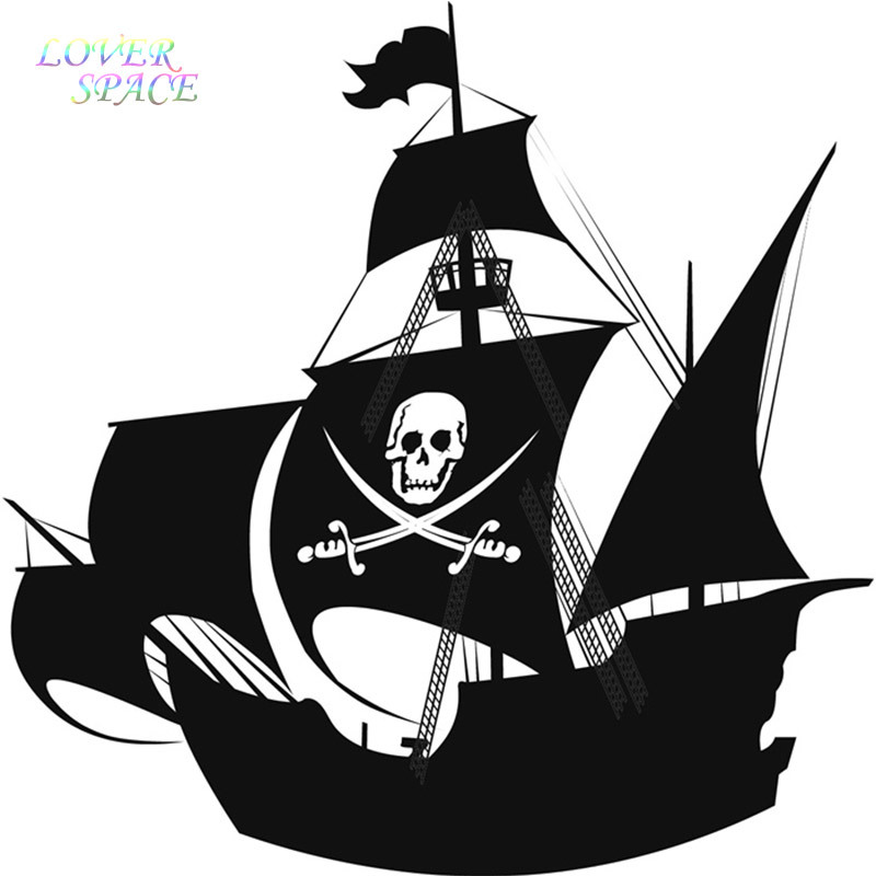 Free Shipping Pirate Ship Wall Sticker for Kids Room Wall Sticker Children's Wall Decal Art Home Decor LP58144(China (Mainland))