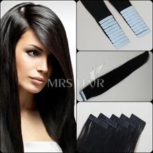 "18"" 20"" 22"" 24"" 1B# natural black virgin tape hair extension 20pcs sex remy human straight brazilian beauty women 2014 promotion(China (Mainland))"