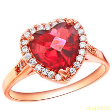FR060 Rose Gold Plated Luxury Brand Red Rhinestone Crystal Heart Rings For Women Wedding Accessories Engagement Ring Gifts(China (Mainland))