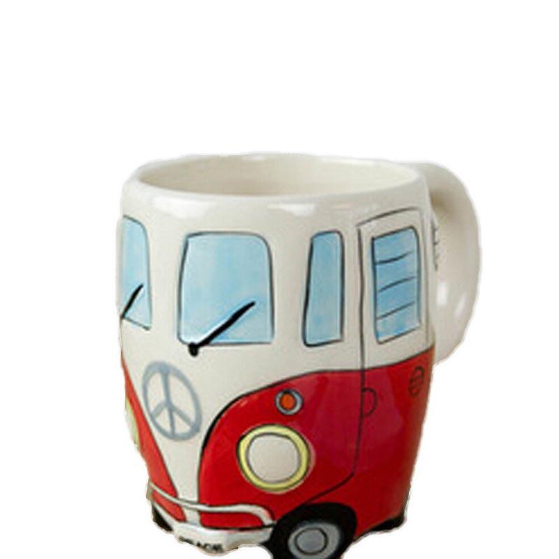 Cartoon Vintage British Styling Canecas Ceramic Mugs Creative Bus Copos Hand Painting Zakka Coffee Cup Drinkware For Dinning Bar(China (Mainland))