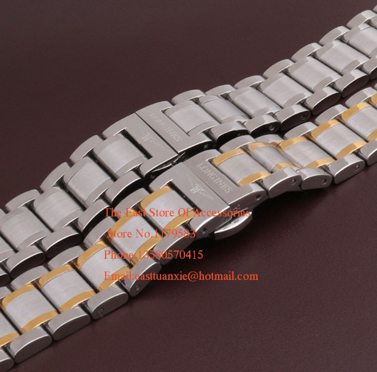 Metal Watchband With Silver Deployment 18mm 19mm 20mm 21mmSilver and Gold For men Watches Hours Brand Style Straight end fashion