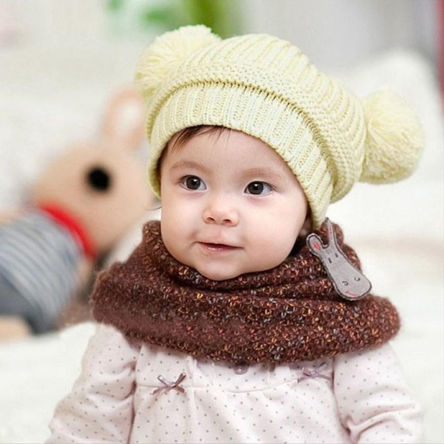 newborn baby photography props Cute Baby Kids Girl Boy Dual Balls Warm Winter Knitted Cap Hat baby bonnet kids hat topi bayi 082(China (Mainland))