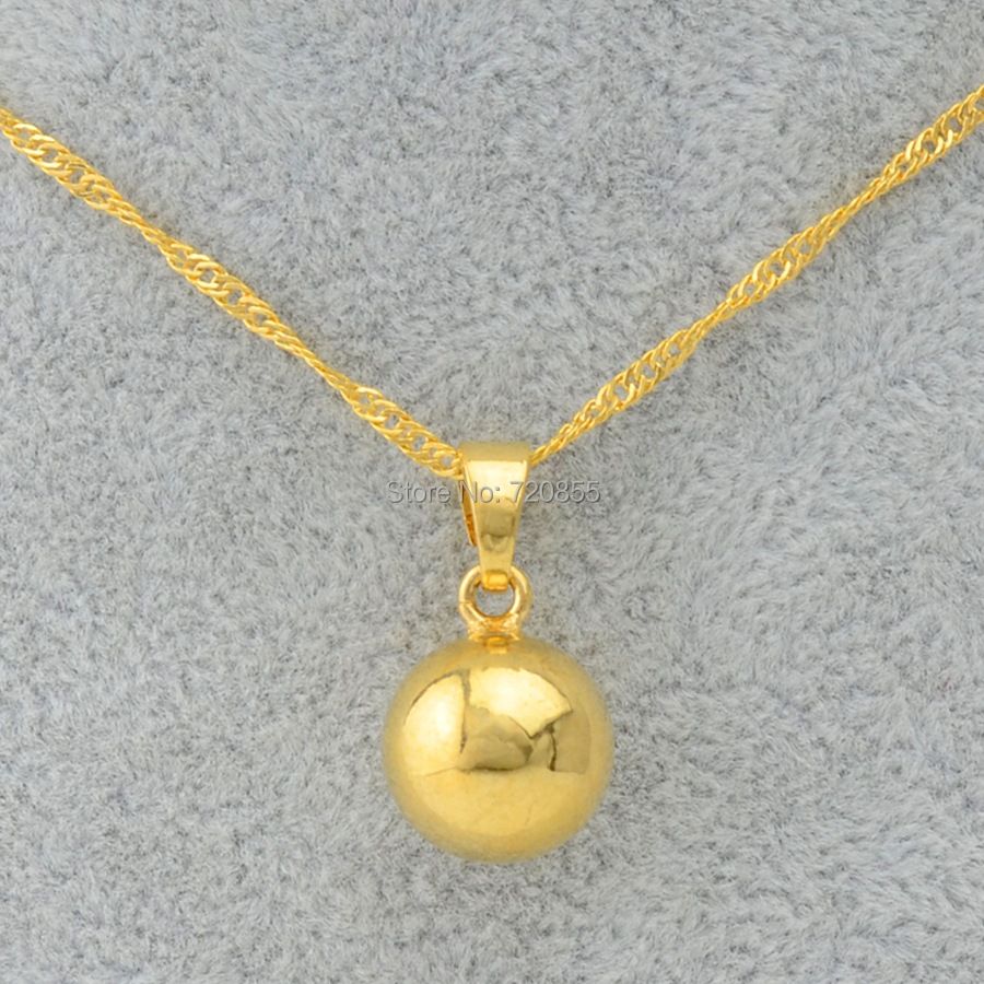 Gold Ball Pendants & Necklaces High quality 18k Gold ...