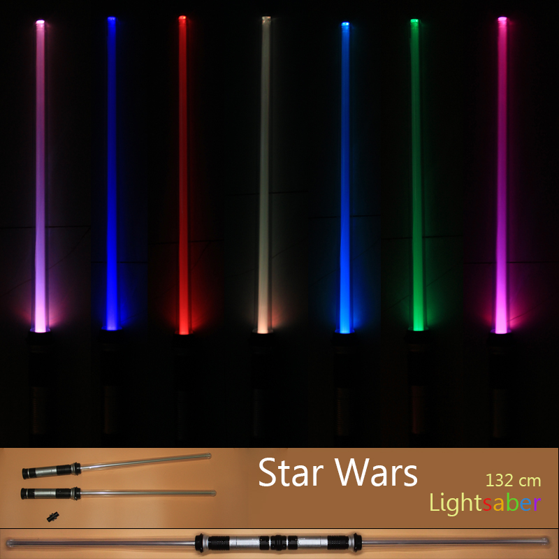 2 pcs/lot Star Wars Lightsaber Led Flashing Light Sword Toys Cosplay Weapons Can Mutual percussion Sabers for boys Action(China (Mainland))