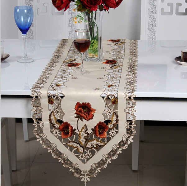 Hot Sale Elegant Polyester Embroidery Table Runner Embroidered Floral Cutwork Table Cloth Linen Covers Runners H1323(China (Mainland))