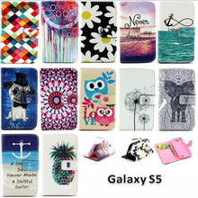 Cute Cartoon Owl Leather For Samsung S5 Flip Cover Samsung Galaxy S5 Case Wallet SV I9600 G900 Original Phone Accessories(China (Mainland))