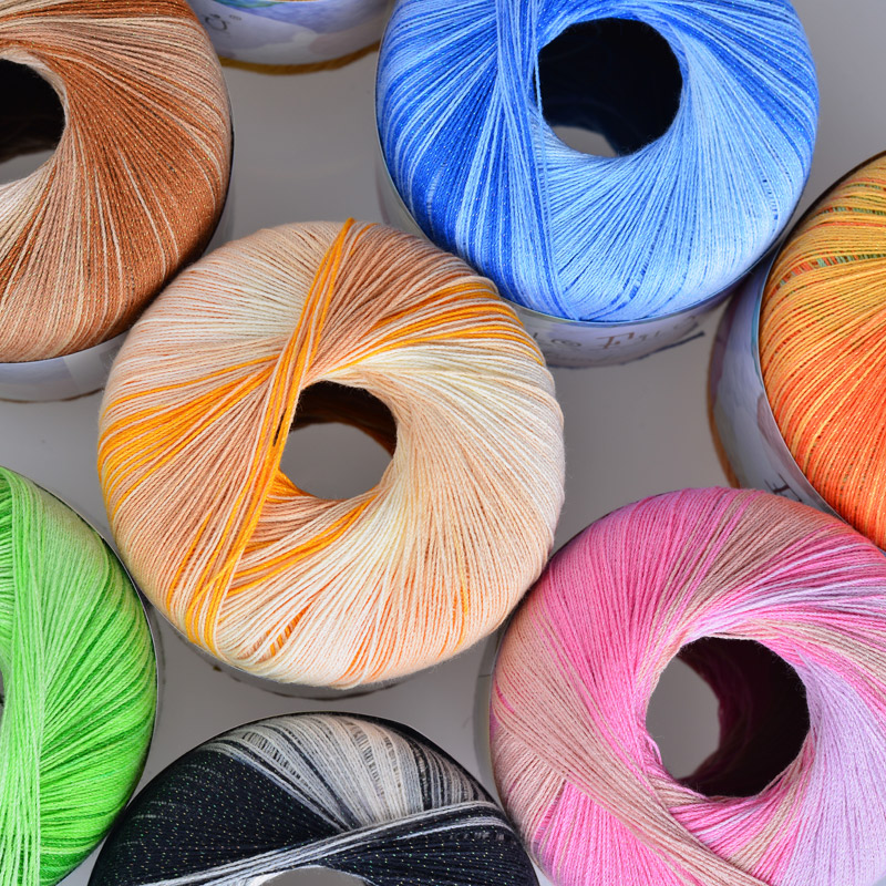 Cotton Crochet Yarn Long Thin Section Stained With Bright Silk Lace Yarn For Hand-Knitting Baby Yarn Pelote Madeja Lana Cap(China (Mainland))