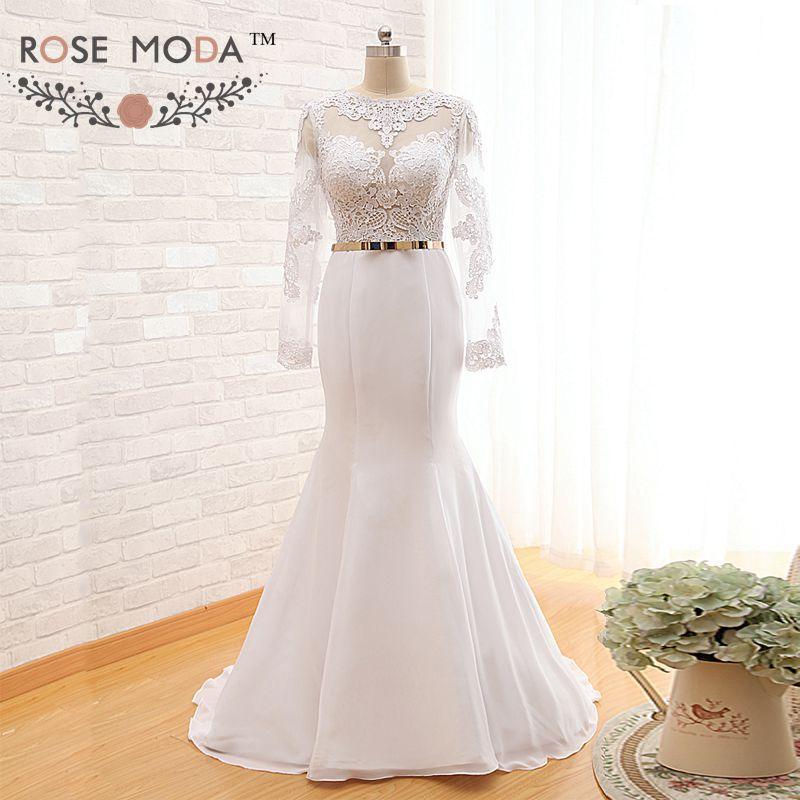 Buy long sleeve keyhole back lace mermaid for Gold belt for wedding dress