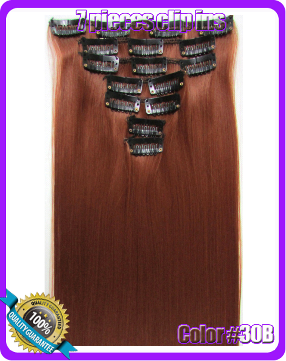 22(55cm) straight clip in  hair extensions 130g 7pcs/set hot resistent synthetic, color #30B Dark Copper Red<br><br>Aliexpress