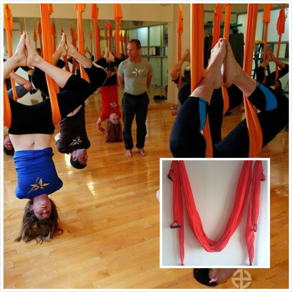 Yoga Belts for sporting indoor Anti-gravity Yoga Hammock Swing Resistance Bands for Yoga training RED COLOR