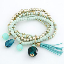 Fashion Bohemia Layers Beads Charms bracelets bangles Tassel Ball Crystal pulseiras Bracelet for Women Men jewelry Accessories