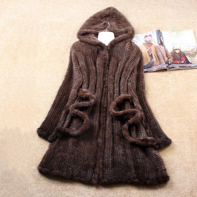 2015 New Women Genuine Knit Mink Fur Coat With Hood New Fashion Natural Mink Fur Jacket Lady Warm Winter Fur Outwear(China (Mainland))