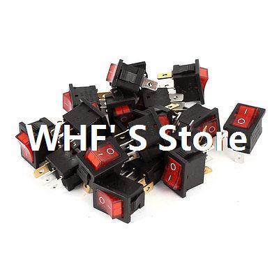 AC 250V 6A AC 125V 10A 3Pins SPST ON/OFF Red Indicator Lamp Rocker Switch 20 Pcs(China (Mainland))