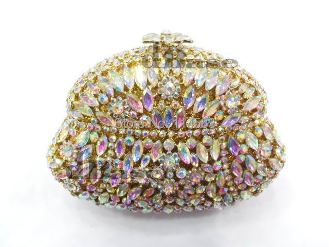 Фотография 8254AB whiteAB crystal Flower Floral lady Fashion Wedding Bridal hollow gold Metal Evening purse clutch bag handbag