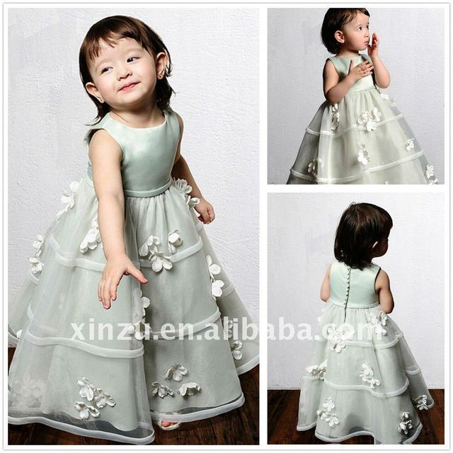 Satin and Tulle Round Neckline Princess Flower Light Green Flower Girl Dress--FGD5062