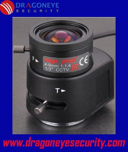 DragonEye camera Lens 4-9mm IR Mega Pixel Auto Iris Lens for Box Cameras, 1/3'' CCD, 1/4'' CCD, clear vision at night, CS Mount(China (Mainland))