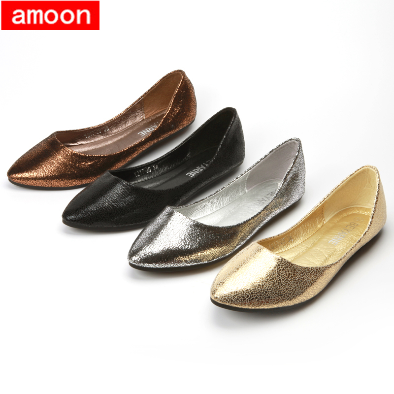 Amoon / Women Girl 2015 New Summer Autumn Rubber Crack Pointed Toe PU Ballet Flat 1217#2/ 4 Colors/ 7 Plus 41 Size - ^^ Flats and More store