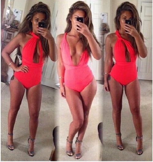 2015 Wholesale One Piece Swimsuit 3 Wearing Ways Red Black Swimming Suit For Women Sexy One Piece Swim Suits beach Drop Shipping(China (Mainland))