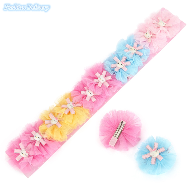 10pcs/lot Kids Hairpins Cute Lace Floral Hello Kitty Hair Clips Children Hair Styling Decorations Accessories(China (Mainland))